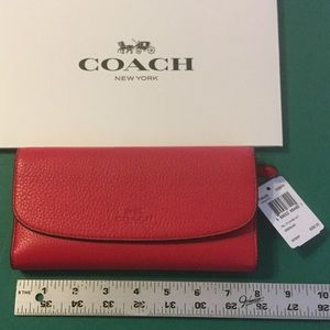 Coach Pebble Leather Checkbook Wallet